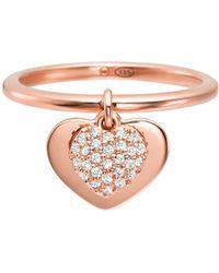 Michael Kors - Kors Heart 14k Rose Gold Plated Sterling Silver Pavé Ring - Lyst