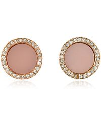 Michael Kors - Heritage Rose Gold Stud Earrings W/crystals - Lyst