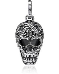 Thomas Sabo - Blackened 925 Sterling Silver And Zirconia Maori Skull Pendant - Lyst