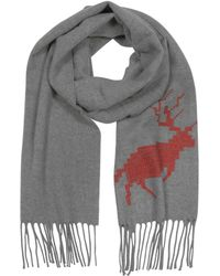 DSquared² - Canada Hiking Grey Wool And Cashmere Men's Long Scarf W/fringes - Lyst