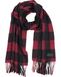 DSquared² - Black And Burgundy Checked Wool Blend Men's Scarf W/fringes - Lyst