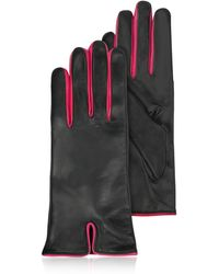 FORZIERI - Black & Fuchsia Cashmere Lined Leather Ladies' Gloves - Lyst