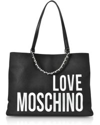 Love Moschino - Canvas Embroidery Tote Black - Lyst