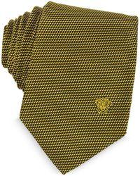 Versace - Woven Silk Narrow Tie W/medusa - Lyst