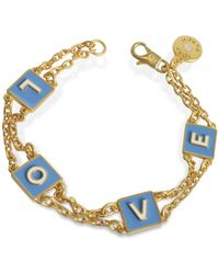 Tory Burch - Sunny Blue/new Ivory Enamel And Vintage Gold Brass Message Chain Bracelet - Lyst