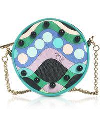 Emilio Pucci - Printed Eco Leather Round Purse W/chain Strap - Lyst