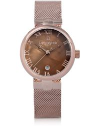 Lancaster - Chimaera Rose Gold Stainless Steel Watch W/brown Dial - Lyst