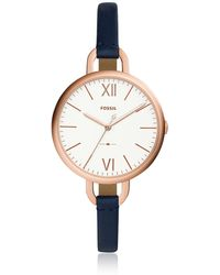 Fossil - Annette Three-hand Navy Leather Watch - Lyst