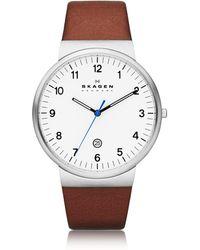 Skagen - Ancher Round Steel Case Men's Watch W/leather Strap - Lyst