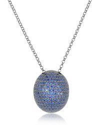 Azhar - Blue Cubic Zirconia Sterling Silver Pendant Necklace - Lyst