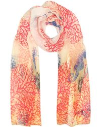 Mila Schon | Ivory Coral Reef Printed Chiffon Silk Stole | Lyst