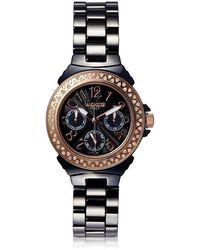 Lancaster - Ceramic Diamonds Black Multifunction Quartz Movement Watch - Lyst
