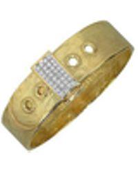 Torrini - Zero - 18k Yellow Gold And Diamond Pave Cuff Bracelet - Lyst