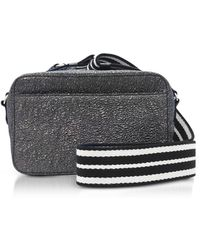 RED Valentino | Gunmetal Crackled Metallic Leather Crossbody Bag W/striped Canvas Strap | Lyst