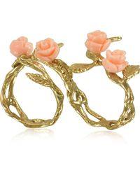 Bernard Delettrez - Two Fingers Leafy Bronze Ring W/4 Pink Resin Roses - Lyst