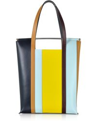 Delpozo - Vertical Striped Patent Leather And Calfskin Great Tote With Handles - Lyst