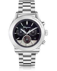 Ferragamo - Ferragamo 1898 Silver Stainless Steel Men's Chronograph Watch W/black Dial - Lyst
