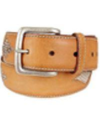 Manieri - Snake Stamped Inserts Caramel Italian Leather Belt - Lyst