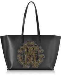 Roberto Cavalli - Black Leather Unisex Tote Bag W/gold Studs Rc Logo - Lyst