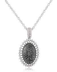 Azhar | Black Cubic Zirconia And Sterling Silver Oval Pendant Necklace | Lyst