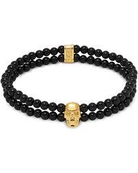 Northskull Double Row Beaded Bracelet With Skull Charmin Black Onyx & Gold
