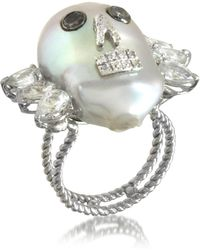 Bernard Delettrez - Pearl Skull 18k White Gold Ring W/diamonds And White Sapphires - Lyst