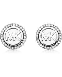 Michael Kors - Logo Silvertone Stainless Steel Stud Earrings - Lyst