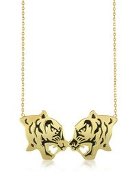 KENZO - Gold Plated And Black Lacquer Fighting Tiger Necklace - Lyst