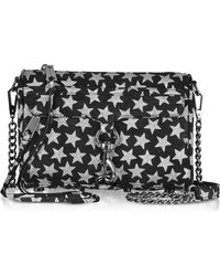 Rebecca Minkoff - Black And Silver Stars Mini Mac Clutch/shoudler Bag - Lyst