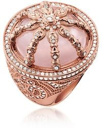 Thomas Sabo - 18k Rose Gold Plated Sterling Silver Ring W/white Zirconia And Rose Quartz - Lyst
