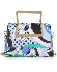 Emilio Pucci - Printed Silk Shoulder Bag W/metal Handles - Lyst