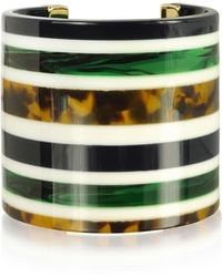 Tory Burch - Malachite And Tory Navy Multi Resin Statement Cuff Bracelet - Lyst