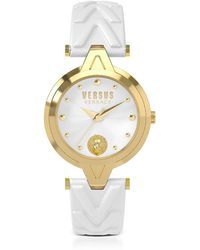 Versus - V Versus Gold Tone Stainless Steel Women's Watch W/white Leather Strap - Lyst
