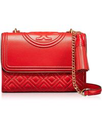 Tory Burch - Fleming Exotic Red Leather Small Convertible Shoulder Bag - Lyst