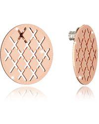 Rebecca - Melrose Rose Gold Over Bronze Stud Earring - Lyst