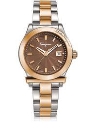 Ferragamo - Two-tone Stainless Steel Bracelet Watch - Lyst