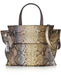 Ghibli - Brown Paillette Python Leather Satchel Bag W/shoulder Strap - Lyst