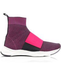 Balmain - Neon Fuchsia Knit Ribbon Fabric And Leather Cameron Running Women's Trainers - Lyst