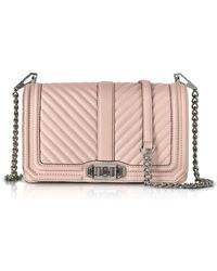 Rebecca Minkoff - Vintage Pink Chevron Quilted Leather Love Crossbody Bag - Lyst