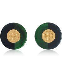Tory Burch - Resin Color-block Stud Earrings W/goldtone Logo - Lyst