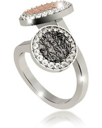 Rebecca - R-zero Rhodium Over Bronze Ring W/two Tones Stones - Lyst