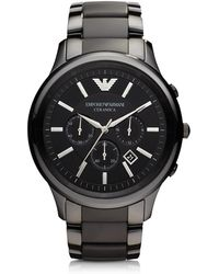 Emporio Armani - Black Ceramic & Stainless Steel Men's Watch - Lyst