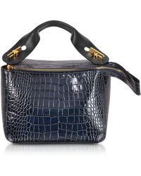 Sophie Hulme - Blue Canard Croco-embossed Leather Bolt Small Saddle Bag - Lyst