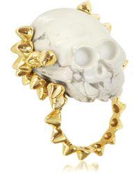 Bernard Delettrez Golden Studs With Marble Skull Ring
