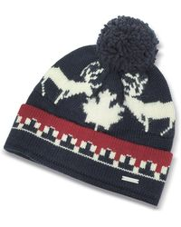 DSquared² - Nordic Deers Navy Blue And Burgundy Wool Blend Knit Hat W/pom Pom - Lyst