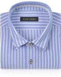 FORZIERI - Slim Fit Striped Light Blue And White Cotton Shirt - Lyst