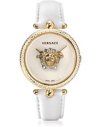 Versace - Palazzo Empire White And Pvd Plated Gold Unisex Watch W/3d Medusa - Lyst