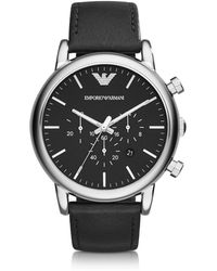 Emporio Armani - Silver Tone Stainless Steel & Black Leather Strap Men's Watch - Lyst