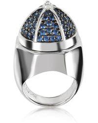 Azhar - Rhodium Plated Sterling Silver Adjustable Ring W/black Cubic Zirconia - Lyst