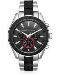 Armani Exchange - Aix Black Dial And Silver Tone Men's Chronograph Watch - Lyst